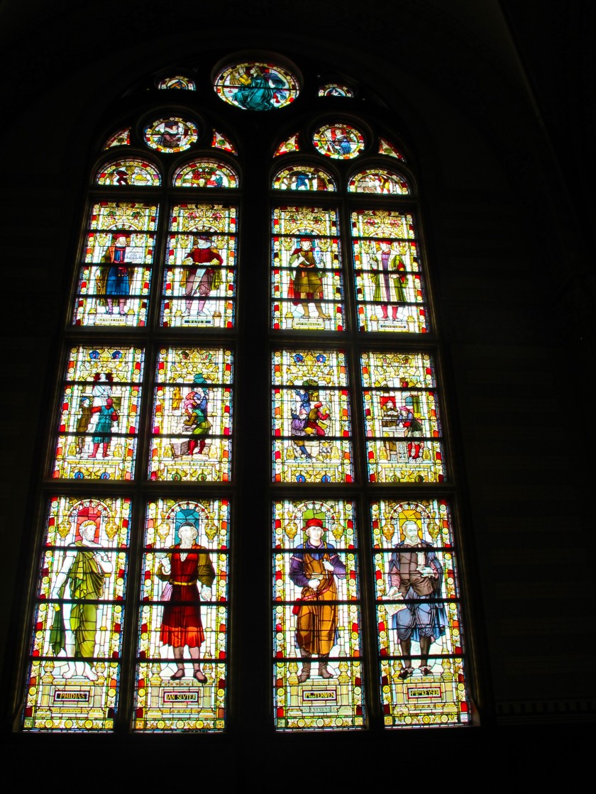 Beautiful tall stained glass windows in the Rijksmuseum