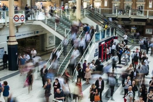 Crowded London Underground station