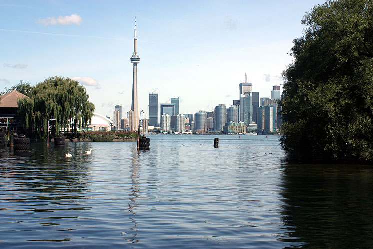 The Toronto skyline as viewed from the ferry terminal on Centre Island